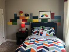 "lego masks on the wall lego ""blocks"" in vinyl or painted with foam circles Lego Bedroom, Kids Bedroom, Bedroom Decor, Transportation Nursery, Big Boy Bedrooms, Lego Blocks, Kids Decor, Home Decor, New Room"