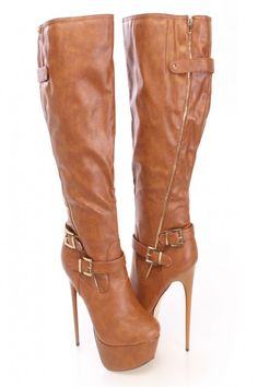 Tan Platform Stiletto Boots Faux Leather