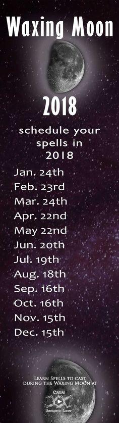 Waxing Moon Calendar 2018 - Spells