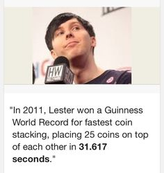 The more you know. Theres a video of this. Dan and Phil competed for the world record and Phil won.
