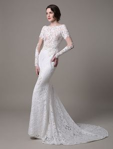 Vintage Lace Wedding Dress With Long Sheer Sleeves And Pearls Applique