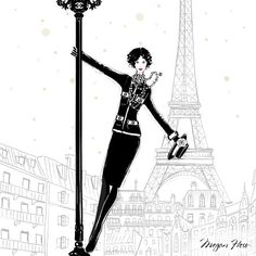 Megan Hess. Close up of my new print that comes with my new book: COCO CHANEL - The Illustrated World of a Fashion Icon. To celebrate the release of my new book, I have created a special Limited Edition set that includes a signed copy of my book and a bespoke A5 Art Print of Coco swinging high above Paris! Available from my online shop: MEGANHESS.COM