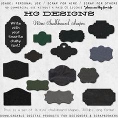 """des étiquettes """"ardoises"""" pour toutes vos créations... """"petit plus"""" : vous pourrez également les utiliser comme gabarits pour découper les formes dans les papiers de votre choix..."""