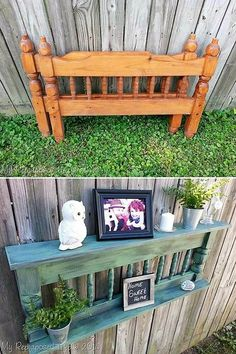 Absolutely stunning DIY patio furniture projects that you'll love - upcycled furniture Old Furniture, Refurbished Furniture, Repurposed Furniture, Furniture Projects, Furniture Makeover, Garden Furniture, Painted Furniture, Furniture Design, Street Furniture