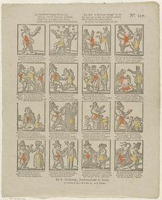 J. Robyn | Jan klaassens klugtige bedryven, / Ziet gy, tot uw vermaak, in prent [...], J. Robyn, A. Robyn, Johan Noman, 1806 - 1830 | Blad met 16 voorstellingen over het leven van Jan Klaassen. Onder elke afbeelding een vierregelig vers. Genummerd rechtsboven: No. 107.