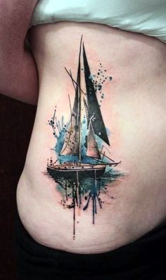 40 Cute and Meaningful Boat Tattoo Designs The Effective Pictures We Offer You About Boats shoes A quality picture can tell you many things. Jj Tattoos, Kunst Tattoos, Great Tattoos, Future Tattoos, Beautiful Tattoos, Body Art Tattoos, Female Tattoos, White Tattoos, Ankle Tattoos