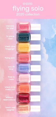 introducing essie's new flying solo collection. inspired by the euphoric anticipation felt on a solo travel adventure, these sunset-inspired nail polish shades bring to life the beautifully optimistic colors of the clouds seen from the window of an a Essie Nail Polish Colors, New Nail Polish, Summer Nail Polish Colors, Nail Polishes, French Nails, Cute Nails, Pretty Nails, Diy Nails, Glitter Nails