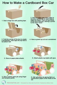Have a cupboard box and going to the bin? Why not recycle it and have fun with your kids? Here's how you can make a car with a box!   Bring a huge smile to yo