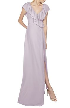Ceremony by Joanna August 'Lolo' Ruffle V-Neck Chiffon Wrap Gown
