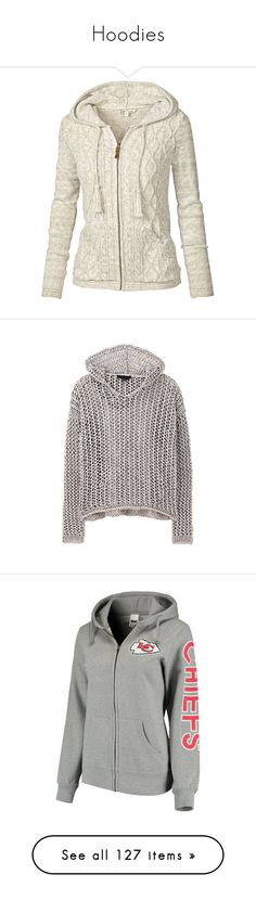 """""""Hoodies"""" by cssystyle ❤ liked on Polyvore featuring tops, cardigans, jackets, sweaters, white, ivory, ivory top, chunky cable knit cardigan, cable knit hooded cardigan and zipper cardigan"""
