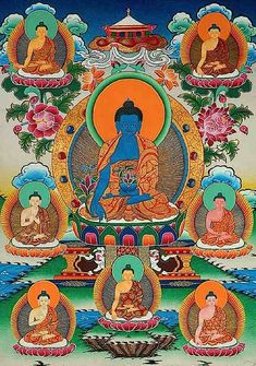 The Eight Medicine Buddhas. In the centre is Bhaisajyaguru Vaduraprabha the Lapis Lazuli Medicine Guru surrounded by the other healing Buddhas. Shakyamuni is the eighth Medicine Buddha. Buddhist Symbols, Buddhist Art, Tibetan Buddhism, Reiki, Buddhist Practices, First Doctor, Yoga, Wallpaper S, Healing