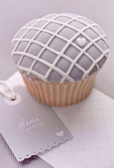 Grey white cute cupcake