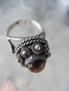 60s Vintage Mexican Sterling Poison Ring Tiger by PaisleyBabylon