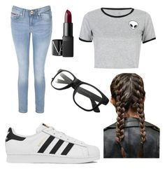 """""""Tumblr outfit for school"""" by vanessahxxd on Polyvore featuring Tommy Hilfiger, adidas, WithChic and NARS Cosmetics"""