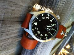 Handmade Custom leather 22mm mens watch strap button closure weathered rustic