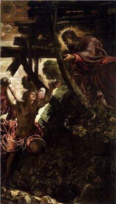 The Temptation of Christ - Tintoretto.  1579-81.  Oil on canvas.  539 x 330 cm.  Sala Superiore, Scuola Grande di San Rocco, Venice, Italy.