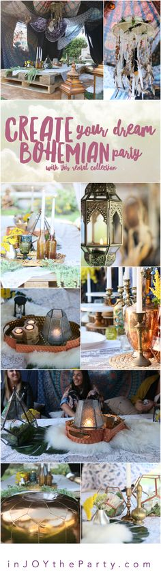 Create your dream Boho celebration this summer with this expertly curated rental collection! Low pallet tables, macramé & lace, geometric vessels, florals, textured rugs, colorful textiles, dream catchers, lanterns, candlelight…a Bohemian dream! Whether you want to DIY or have our designers set it up, there's a package for you! @inJOYtheParty