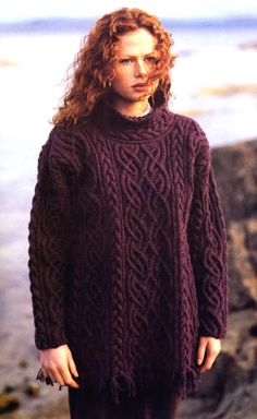 The St Brigid sweater by Alice Starmore. The first sweater I ever wanted to make. Look at those cables, holy crap! Easy Blanket Knitting Patterns, Ladies Cardigan Knitting Patterns, Knit Patterns, Cable Knitting, Knitting Yarn, Hand Knitting, Aran Sweaters, Tromso, Lana
