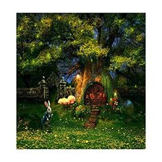 5ftx6.5ft Green Forest Photography Backdrop Alice In Wonderland Cartoon Treehouse Wedding Background Photo Studio