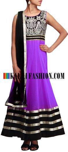 Buy Online from the link below. We ship worldwide (Free Shipping over US$100)  http://www.kalkifashion.com/purple-anarkali-suit-featuring-with-embroidered-bodice-only-on-kalki.html Purple anarkali suit featuring with embroidered bodice only on Kalki
