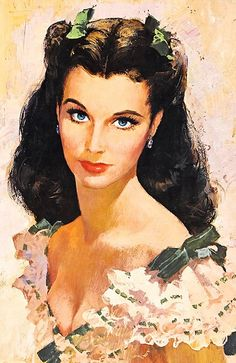 ACTORS IN ART:  Vivien Leigh as Scarlett O'Hara; Cinema Lobby Poster and Card image; artist unknown.