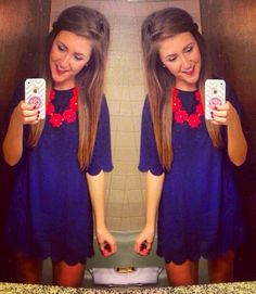 Blue scalloped X red necklace