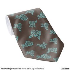 Nice vintage turquoise roses on brown background