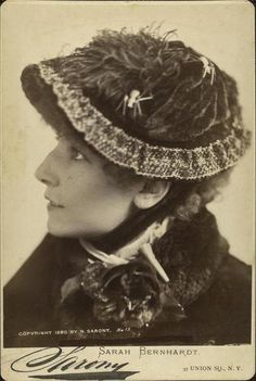 Sarah Bernhardt, (1844-1923). French actress, who performed in Europe, and was a popular performer on the American stage as well. This cabinet card - posed image, (note the spider pin jewelry, on her hat), was taken at: Sarony Studio NYC - 37 Union Square. During America's Gilded Age era, c.1880. ~ {cwl}
