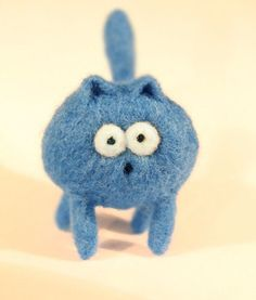 Startled Kitty Tree Ornament  Needle Felted Cat Plushie. $12.00, via Etsy.
