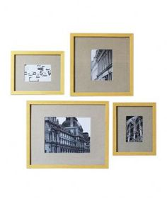 Brighten up a room with these gilded frames that are available individually or in a set of four assorted sizes. The linen mattes offer a nice contrast against the gold frames and make them seem less stuffy and more cohesive when used in a set.