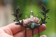 Crystal quartz point and apatite hair comb by Krinna.deviantart.com on @DeviantArt