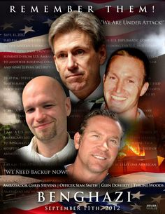 Remembering Ambassador Chris Stevens , Officer Sean Smith , Glen Doherty and Tyrone Woods who lost their lives in a terrorist act in Benghazi on . My heart , my thoughts and my prayers go out to their families and friends. never forget ! American Pride, American History, American Flag, American Spirit, American Soldiers, Out Of Touch, Real Hero, God Bless America, Before Us