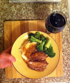 Mar. 31st 2013 - W8D5 - Dinner - Tri-tip steak, mashed potatoes, broccoli. Two glasses of red wine.