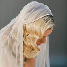 Retro Cap Veil Beaded Edge Waltz Length Wedding Veil