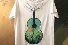 Painted for a and enthusiast. Guitar, Mountain, Mens Tops, T Shirt, Crafts, Wool, Supreme T Shirt, Tee Shirt, Manualidades