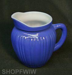 Vintage McKee Glass Co. Cobalt Blue Milk Glass Creamer Pitcher Circa 1930's #McKee