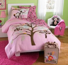 Monkey Twin Bedding Sets | Product Name: Pink Monkeys Twin Comforter Set (4 Piece Bedding)