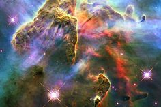 The Carina Nebula - a nursery for stars 7,500 light-years away, photographed by the Hubble Space Telescope