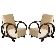 Art Deco Black Lacquer Circular Arm Lounge Chairs