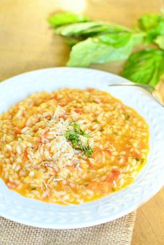 Delicious dinner idea for any time of the week. This Creamy Tomato Basil Risotto is simple and has that classic tomato basil flavor that everyone enjoys. Risotto Recipes, Tofu Recipes, Vegetarian Recipes, Cooking Recipes, Healthy Recipes, Cooking Corn, Lobster Risotto, Tomato Risotto, How To Cook Corn