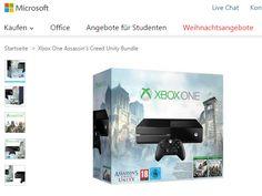 Microsoft bietet die Xbox One im Rahmen seiner Weihnachtsangebote-Aktion derzeit zu attraktiven Konditionen an: Sie erhalten die Konsole inklusive Controller, 500 GByte-Festplatte, Assassin's Creed Unity und Black Flag sowie einen 30-Euro-Gutschein für 399 Euro.