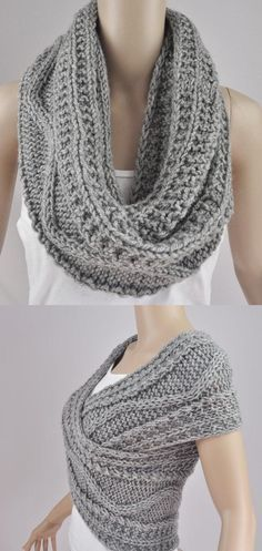 Two possible ways to wear the lovely scarves with no tail ends