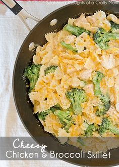 Cheesy Chicken and Broccoli Skillet  3 C of your favorite pasta shape 2 C fresh broccoli florets 2 T butter 2 T plus 1 tsp of flour 1 1/4 C of chicken broth 1/2 C of Fat free half n half 4 oz of velveeta light (about 1/2 small pack) 1 t garlic powder 1 t onion powder pinch of red pepper flakes (Optional) plenty of salt and pepper (To taste) 2 1/2 C of precooked cubed chicken breasts 1/2 C shredded cheddar cheese