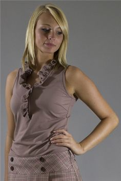 Wear to Win Shirts - Sleeveless Ruffled Sandy Taupe.  Buy it @ ReadyGolf.com Womens Golf Shirts, Ladies Golf, Taupe, How To Wear, Style, Beige, Swag, Outfits