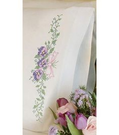 Dimensions Pillowcase Pair Stamped Cross Stitch Kit Pansy Trio