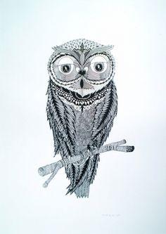 Chouette Sérigraphie sur papie 300 gr/m2 Artwork, Owl, Bird, Animals, Owls, Atelier, Work Of Art, Animales, Auguste Rodin Artwork
