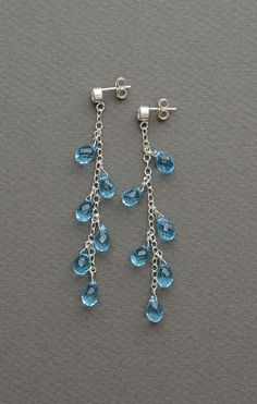 Special Occasion Earrings, Long Blue Gem Linear earrings by BlueRoomGems