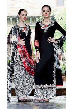 Chic Black Cotton Embroidered Patiala Salwar Kameez
