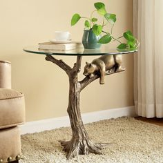 Sleepy Bear End Side Accent Table Cub Country Cabin Lodge Wildlife Sculpture New Unique Furniture, Home Decor Furniture, Rustic Furniture, Living Room Furniture, Furniture Design, Furniture Projects, Sleepy Bear, Branch Decor, Aluminum Table
