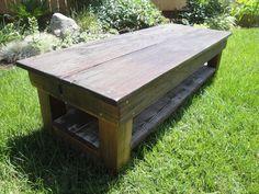 SAWTOOTH Custom Handmade Reclaimed Wood Coffee Table with shelf sample. $345.00, via Etsy.